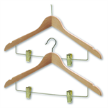 President Wooden Coathangers with Skirt Clips - Brass