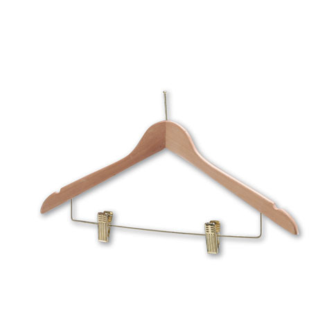 Hotel Coathangers with Skirt/Trouser Clips (Brass)